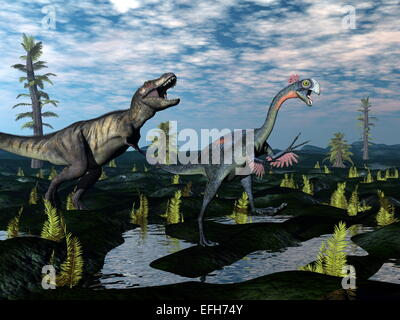Tyrannosaurus rex attacking gigantoraptor dinosaur among tempskya trees and nipa plants by day - 3D render - Stock Photo