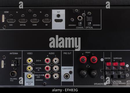 Close-up of AV amplifier back side - Stock Photo