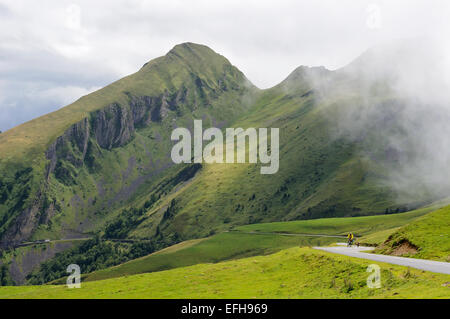 One cyclist on Col d'Aubisque (1709m), Pyrenees (France). - Stock Photo