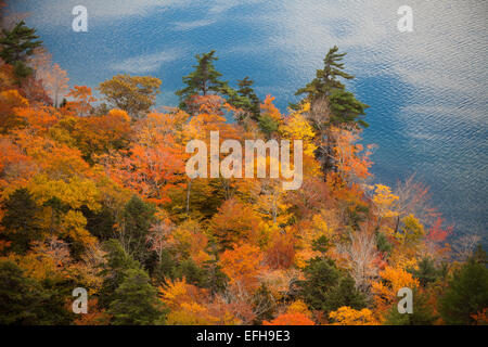 Views of autumn foliage and Jordan Pond, from South Bubble Mountain, Acadia National Park, Maine, USA - Stock Photo