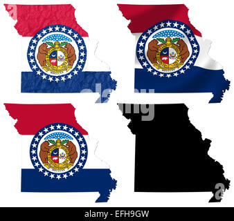 Missouri State MAp And Flag Stock Vector Art Illustration - Us map with state flags