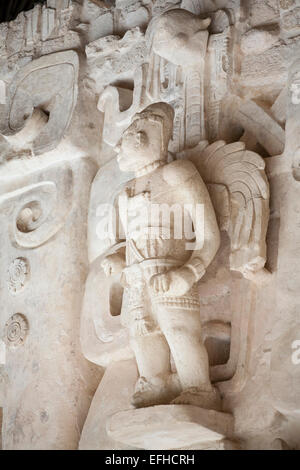 Winged Mayan Warrior. Wall decoration at the Altar of the Jaguar on the main pyramid tomb. Ruins, Ekbalam, Yucatan, - Stock Photo