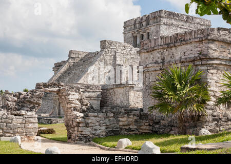 El Castillo Side Elevation. The main temple, or lighthouse, Castillo or Castle at Tulum has an impressive stairway - Stock Photo