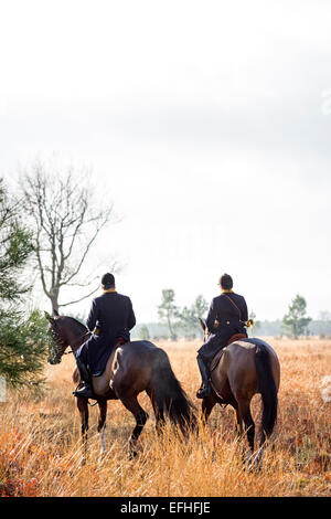 A pair of horse riders taking part in a deer hunting with hounds, in the Landes region (France). - Stock Photo