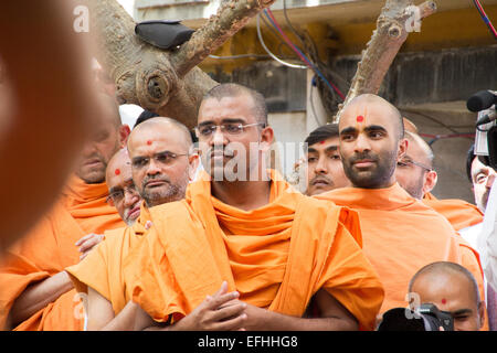AHMEDABAD, GUJARAT/INDIA - March 3rd Sunday 2013 : Pramukh Swami Maharaj comes in public to meet the devotees of - Stock Photo