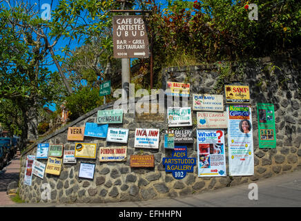 signs at street in ubud indonesia - Stock Photo