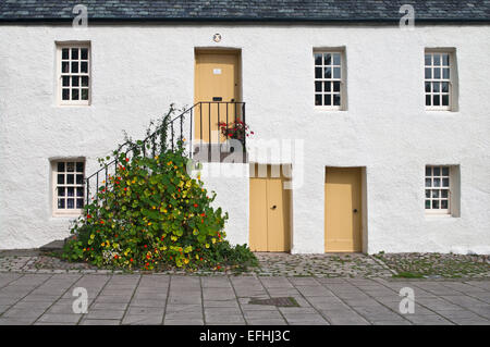 Old restored traditional white cottages, Dunkeld Town Square, Perthshire, Scotland UK - Stock Photo