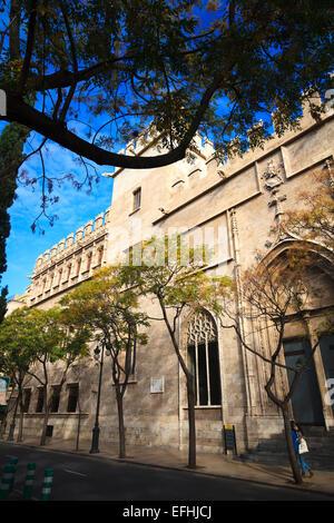 Silk Exchange Lonja de la Seda exterior against blue sky in the Plaza de Mercat in Valencia - Stock Photo