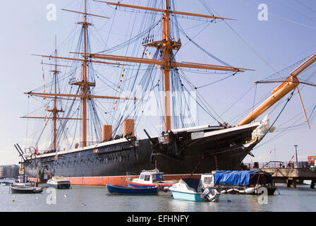 HMS Warrior, Portsmouth Harbour, UK 02 April 2013: Britain's first iron clad warship she was the pride of Queen - Stock Photo