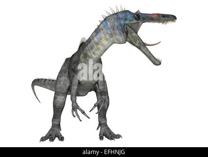 3D digital render of an aggressive dinosaur Suchomimus or Suchomimus tenerensis isolated on white background - Stock Photo