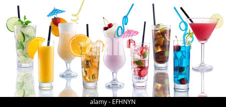 Cocktail Mix, many many cocktails next to each other on isolated white - Stock Photo