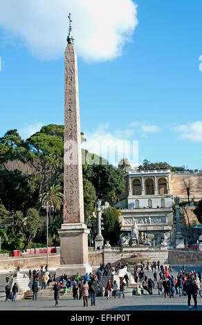 Obelisco Flaminio, Egyptian Obelisk Pincio Terrace, Piazza del Popolo Rome Lazio Italy Italian - Stock Photo