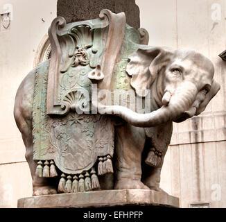 Elephant Obelisk of Santa Maria sopra Minerva by Bernini outside church of same name in the piazza square Rome Italy - Stock Photo
