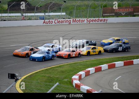 Auto Clearing Motor Speedway racing circuit in Saskatoon, Saskatchewan, Canada. - Stock Photo