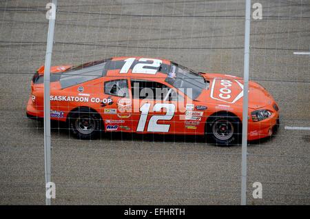 Racing car at Auto Clearing Motor Speedway racing circuit in Saskatoon, Saskatchewan, Canada. - Stock Photo