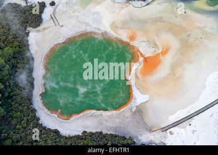 Aerial view of Champagne Pool, geothermal pool with carbon-dioxide bubbles, Minerals give the pool its extreme colouring, - Stock Photo