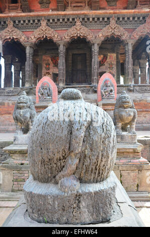 Statue image guarding in Patan Durbar Square is situated at the centre of Lalitpur Sub-Metropolitan City at Nepal. - Stock Photo