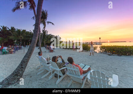 Sunset at restaurant Morada Bay, Islamorada, Florida Keys, Florida, USA - Stock Photo