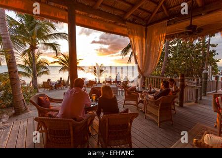 Restaurant DINING ROOM at sunset, Little Palm Island Resort ...