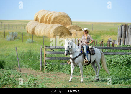 Woman on horseback, La Reata Ranch, Canadian Prairies, Saskatchewan, Canada. - Stock Photo