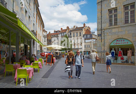 Rue Pasteur with toursits, Besoncon, Doubs, Region Franche-Comte, France, Europe - Stock Photo