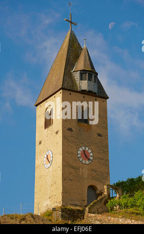 Bell tower with moon in the vineyards of Kobern-Gondorf, Mosel, Rhineland-Palatinate, Germany, Europe - Stock Photo