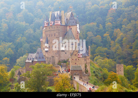 Burg Eltz castle near Wierschem, Eifel, Rhineland-Palatinate, Germany, Europe - Stock Photo