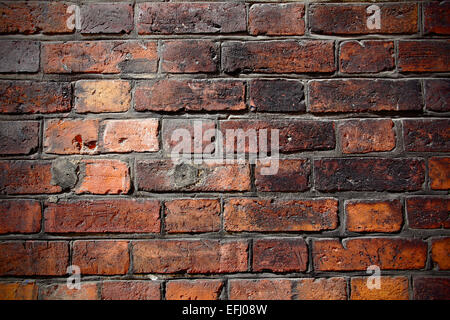 Texture of red old brick wall - Stock Photo