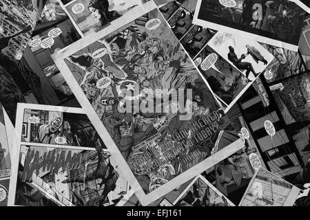 Black and White Marvel comics on the top of a Camper van superheros - Stock Photo