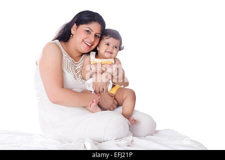 2 indian Child with mother Caring - Stock Photo