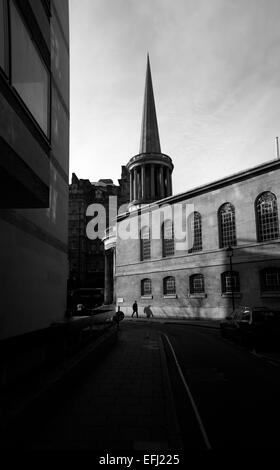 All Souls church, Langham Place, taken from Riding House Street, Fitzrovia, London, UK - Stock Photo