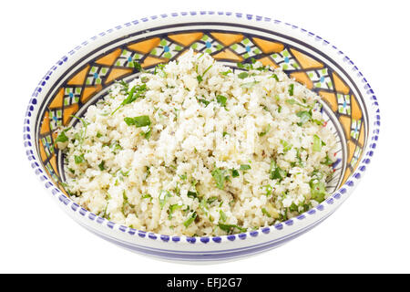 cauliflower couscous with chopped parsley, za'atar,  and preserved lemons - Stock Photo