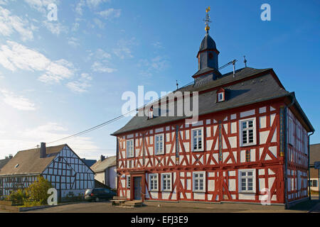 Rehe town hall, former school with oratory, built in 1741 by Johann Heinrich Manderbach, Westerwald, Rhineland-Palatinate, - Stock Photo