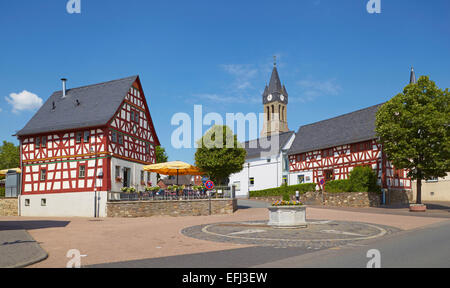 Half-timbered house in Elz with Café, Westerwald, Hesse, Germany, Europe - Stock Photo