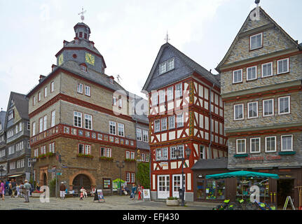 Town hall and half-timbered houses on the market square, Herborn, Westerwald, Hesse, Germany, Europe - Stock Photo