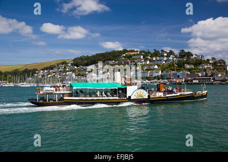 Kingswear from Dartmouth, South Hams, Devon, south-west England, UK, paddle-steamer pleasure boat sailing on River - Stock Photo