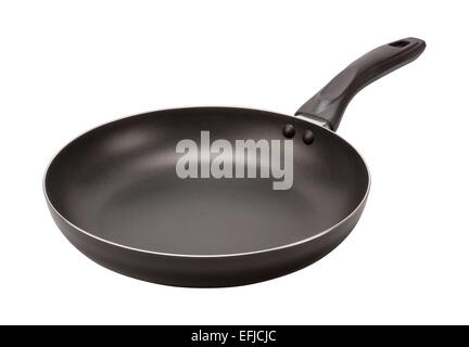 Empty Black Frying Pan isolated on white. The image is in full focus, front to back. - Stock Photo