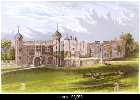 A coloured illustration of Charlecote Park, Warwickshire scanned at high resolution from a book printed in 1870. - Stock Photo