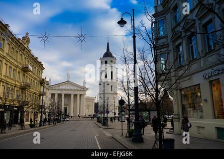 Vilnius main street - Gediminas Avenue, Vilnius Cathedral square on background,  Lithuania - Stock Photo