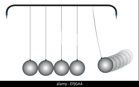 A kinetic energy cradle loaded with five steel balls - Stock Photo