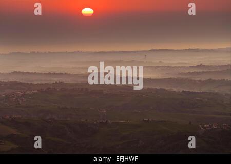 View from Monte Titano over San Marino and Emilia Romagna, Italy - Stock Photo