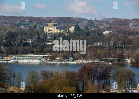 'Villa Hiügel' home  of the Krupp family. Above the Baldeneysee, Reservoir of river Ruhr, Essen, NRW, Germany - Stock Photo