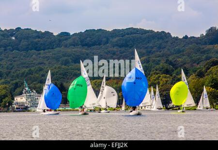 Sailing boats on 'Baldeneysee' lake, river Ruhr, regatta, sailing boat race, Essen, Germany, - Stock Photo