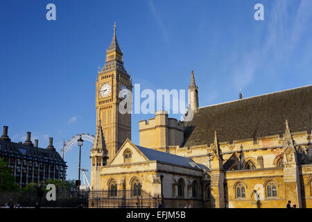Westminster Palace with Big Ben seen from the side, Westminster City, London, England, Grossbritannien - Stock Photo