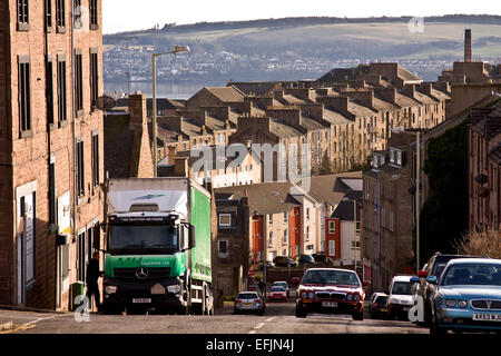 View of old 1800`s Tenement housing from City Road Dundee, UK - Stock Photo