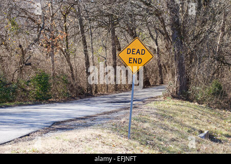 Dead end sign beside country road leading into a wood area.