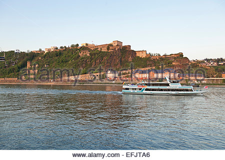 Ehrenbreitstein fortress on the river Rhine in Koblenz, Rheinland-Pfalz, Germany - Stock Photo