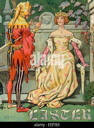 Illustration shows a court jester entertaining a young woman wearing a crown on her head, sitting on a large stone - Stock Photo