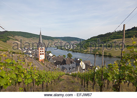 The remaining church tower from the former monastery St. Michael in Merl, Zell-Merl, Rheinland-Pfalz, Germany - Stock Photo