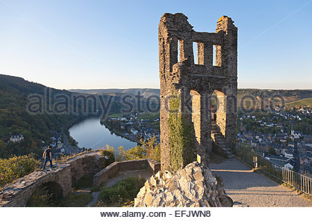 Grevenburg ruins above Trarbach, former Chateau de Trarbach, View over the Moselle valley, Traben-Trarbach, Rheinland - Stock Photo